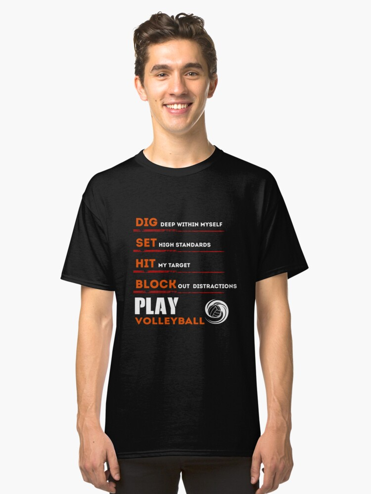 Volleyball Shirt For Men Funny Birthday Gifts Player Classic T