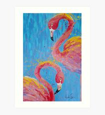 Flaming Flamingo's Art Print