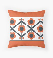 Retro Flower (Tomato) Throw Pillow