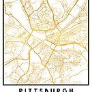 PITTSBURGH PENNSYLVANIA CITY STREET MAP ART by deificusArt