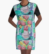 Summer Coffee Cup Bouquet Graphic T-Shirt Dress