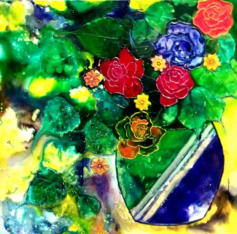 Roses & Vase by Ciska