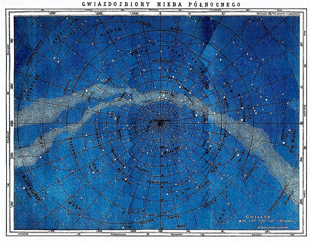 ASTRONOMY NORTHERN CONSTELLATIONS; Vintage Map Print by posterbobs