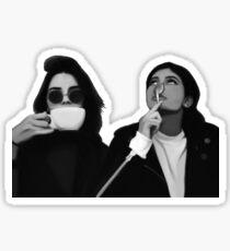 Kylie & Kendall Drinking Coffee Sticker