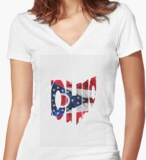 Ohio Typographic Map Flag Women's Fitted V-Neck T-Shirt