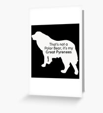Polar Bear Pyrenees - white on black Greeting Card
