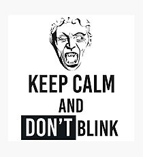 Weeping Angel With Keep Calm And Don't Blink Text Photographic Print