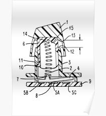 Buckling Spring Patent Drawing Poster
