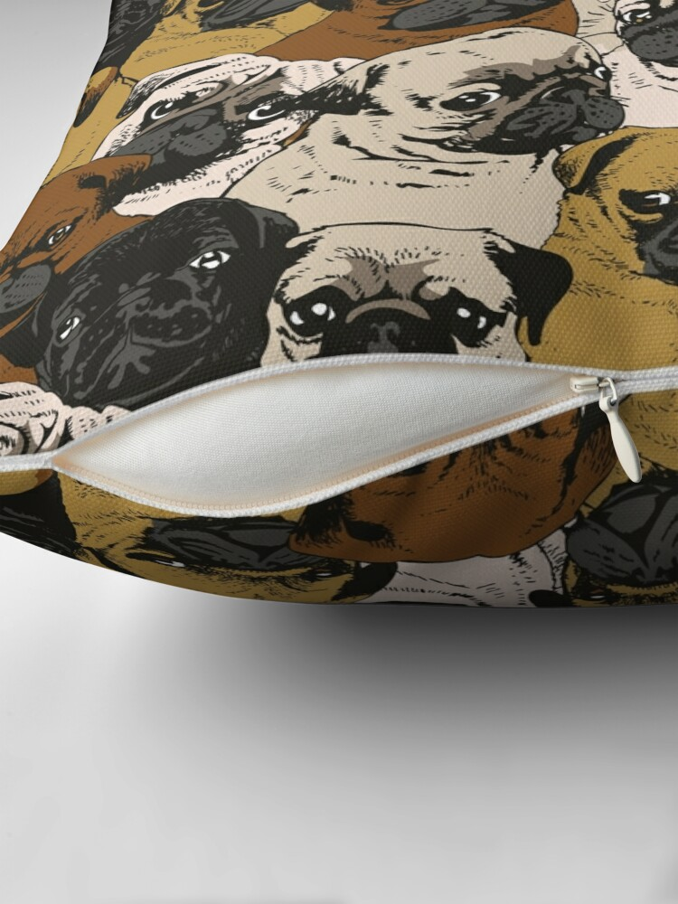 Alternate view of Social Pugs Throw Pillow