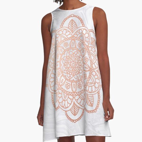 Rose Gold Mandala on White Marble A-Line Dress