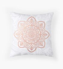 Rose Gold Mandala on White Marble Throw Pillow