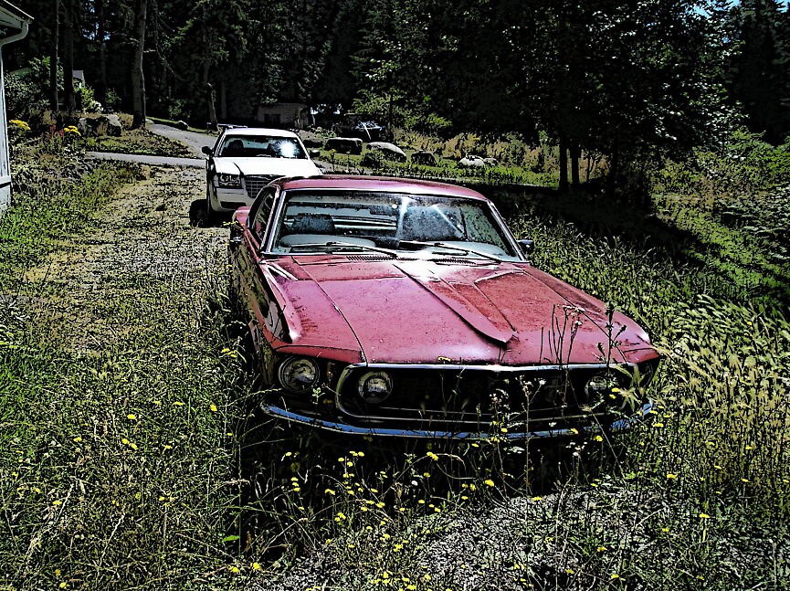 red mustang pursued by HousesinMotion