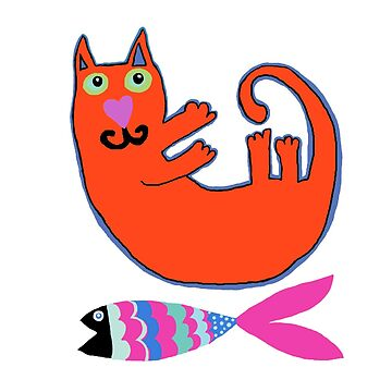 Red Cat and Fish by FunkyScottish