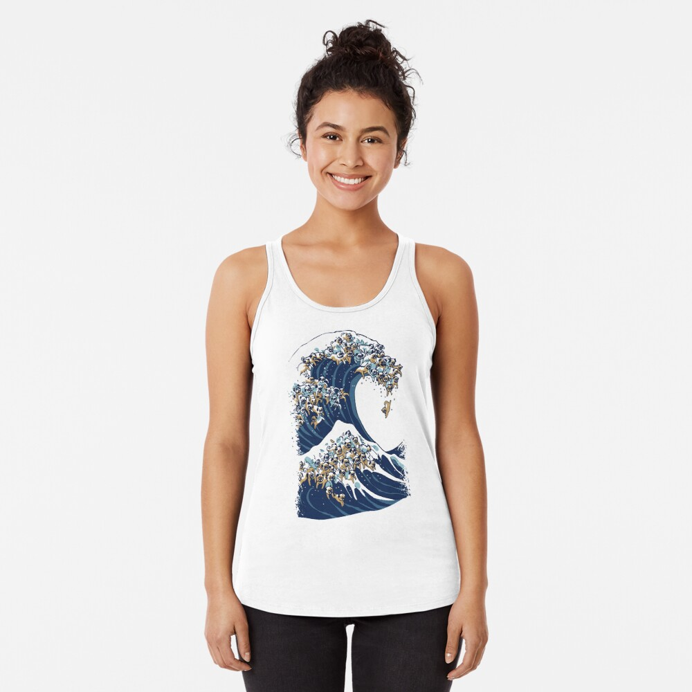 The Great Wave of Pug Racerback Tank Top