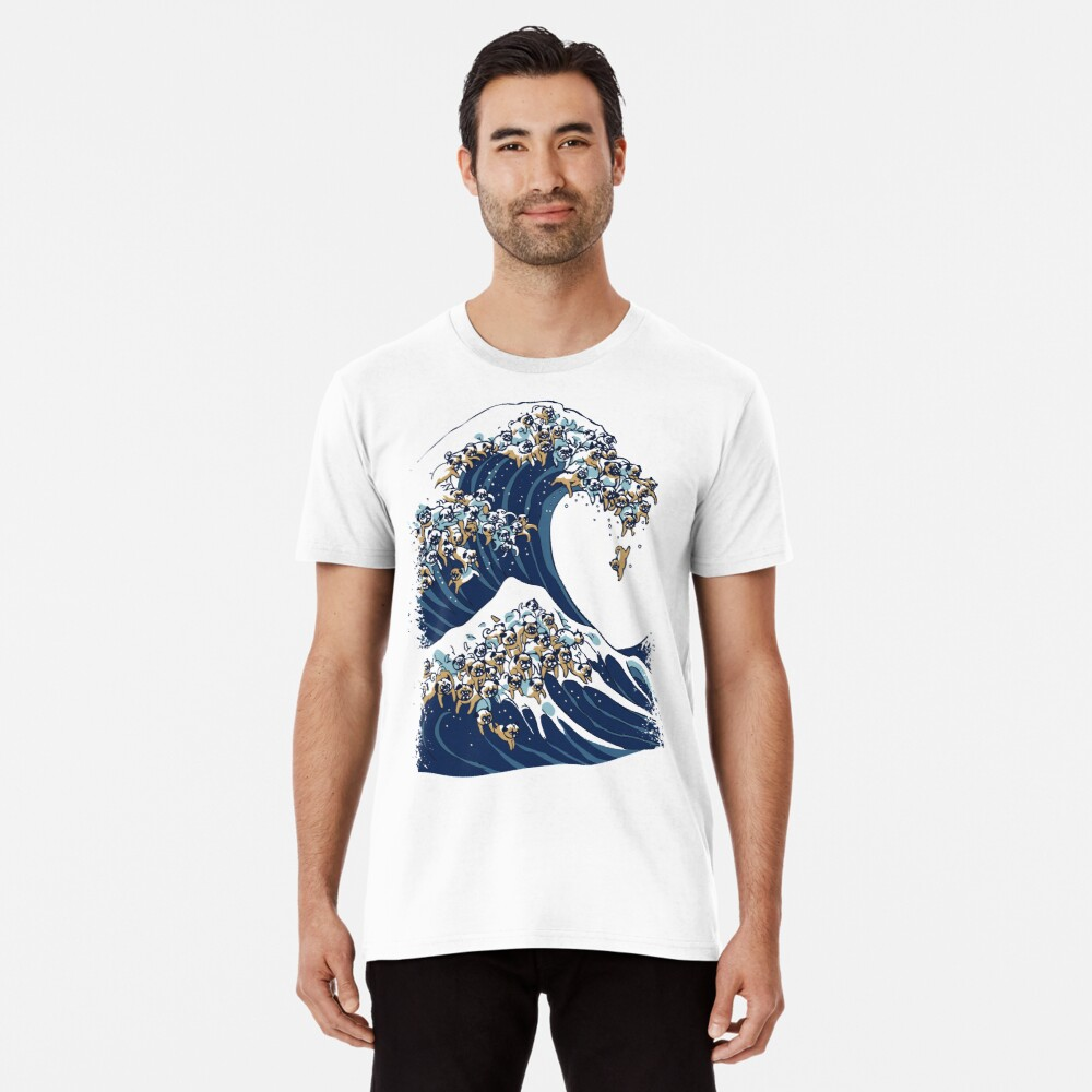 The Great Wave of Pug Premium T-Shirt