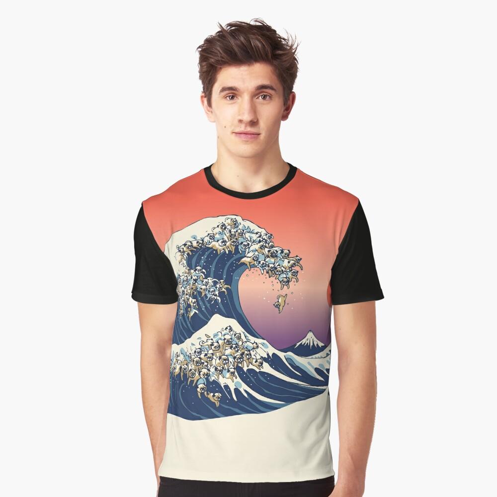 Die große Welle des Mops Grafik T-Shirt