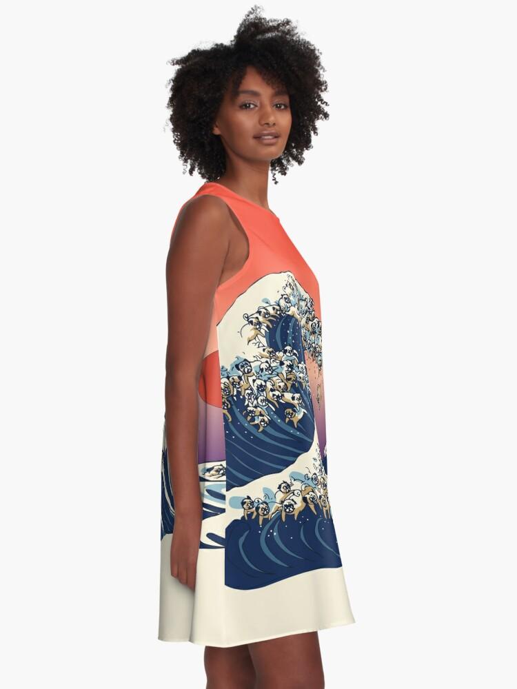 Alternative Ansicht von Die große Welle des Mops A-Linien Kleid