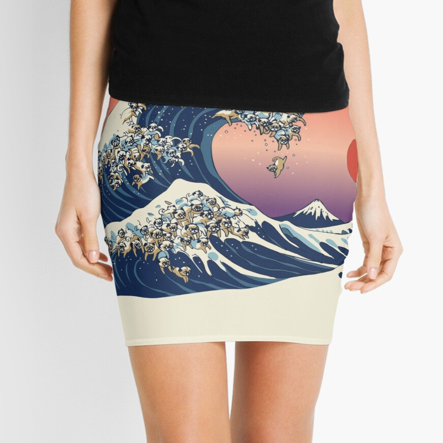 The Great Wave of Pug Mini Skirt