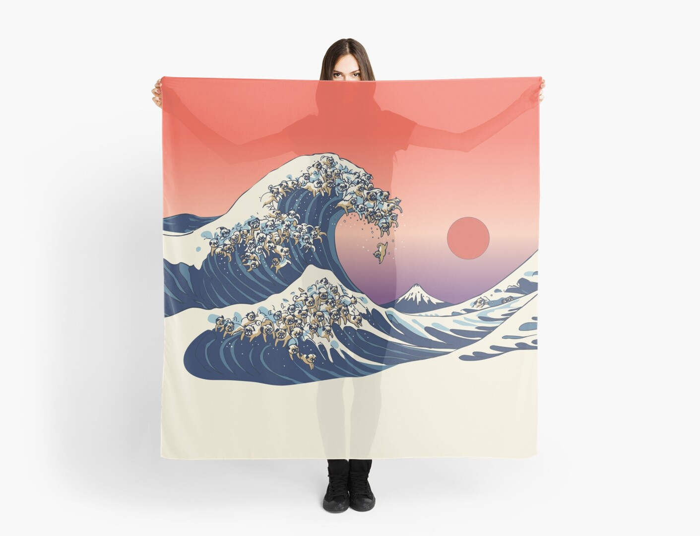 pug wave quot the great wave of pug quot scarves by huebucket redbubble 2406