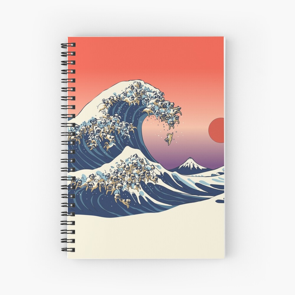 The Great Wave of Pug Spiral Notebook