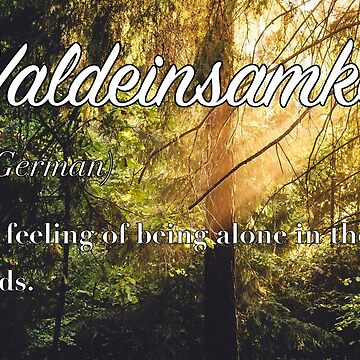 Waldeinsamkeit  (untranslatable word) The feeling of being alone in the woods. by welltraveled