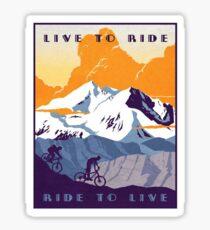 Pegatina Live To Ride, paseo en vivo Retro MTB Poster