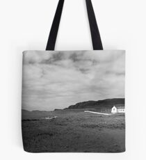 Scenic Donegal church in black and white Tote Bag