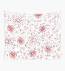 Scattered floral dreams in red and white Wall Tapestry