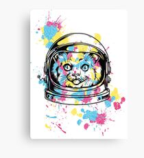 cat  with a helmet space man Canvas Print