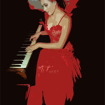 Lady Piano Player in red art by RonelBroderick