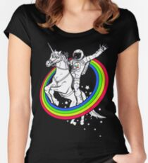 unicorn rider astronaut Women's Fitted Scoop T-Shirt