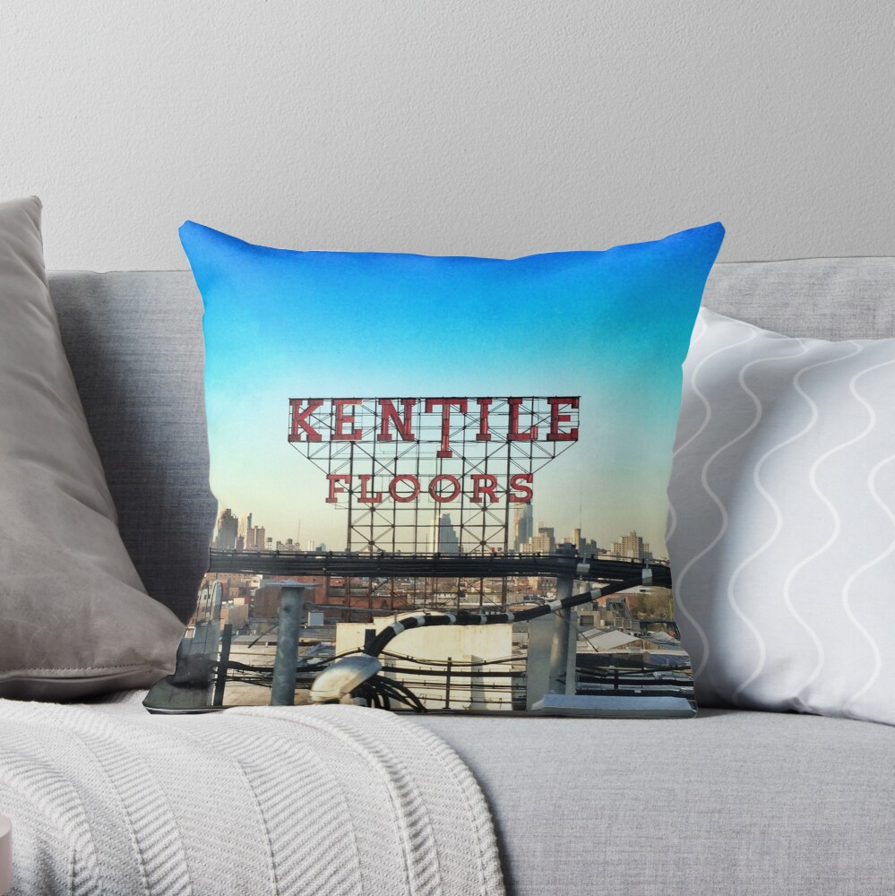 Kentile Floors - Downtown Brooklyn Skyline Photography by OneDayOneImage - Brooklyn Lovers  Throw Pillow