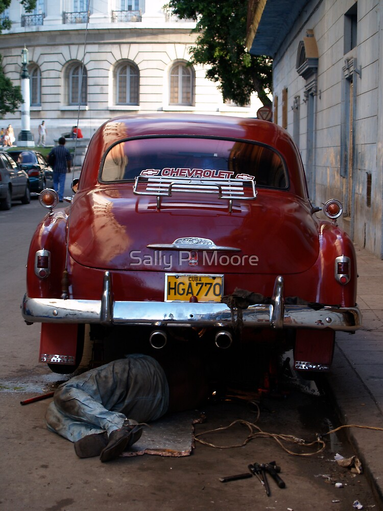 Chevy Mechanic by Sally P  Moore