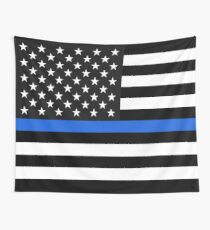 Thin Blue Line American Flag Wall Tapestry