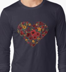 Happy Valentine's Day Greeting Card with Heart of Flowers T-Shirt