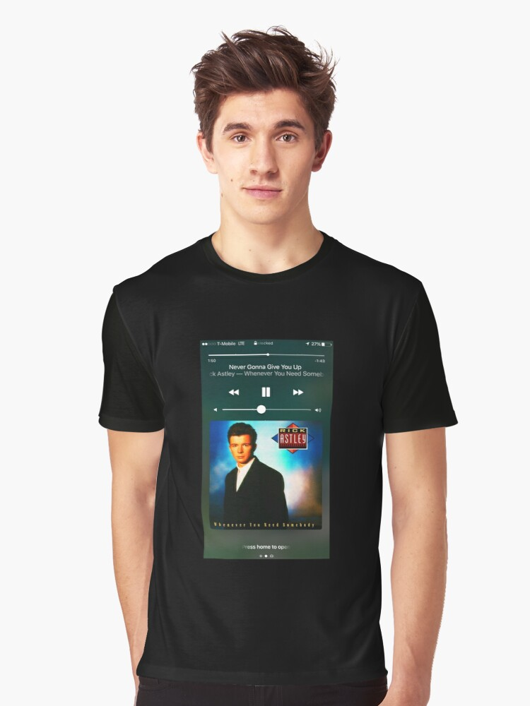 rick ashley never gonna give you up phone screen graphic t shirt