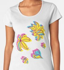 Vivid Summer with Colorful Tropical Flowers  Women's Premium T-Shirt