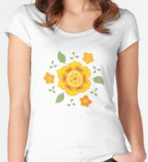 Orange and Yellow Flowers Illustration Women's Fitted Scoop T-Shirt