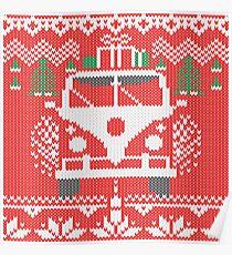 Vintage Retro Camper Van Sweater Knit Style Poster