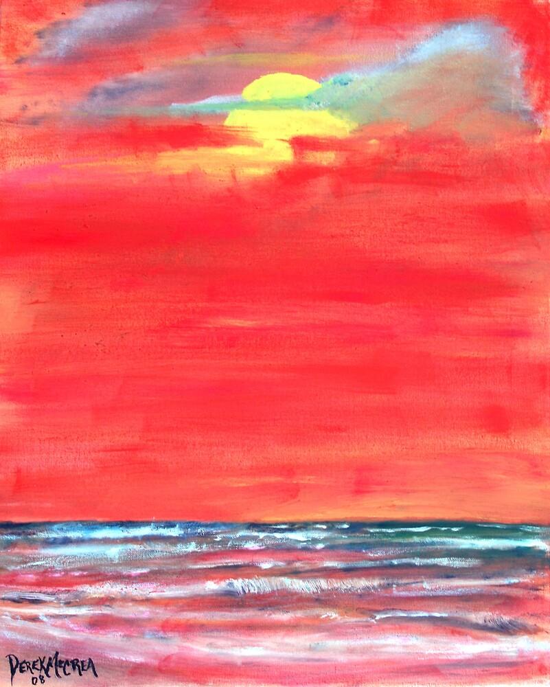 oil sun beach seascape painting by derekmccrea