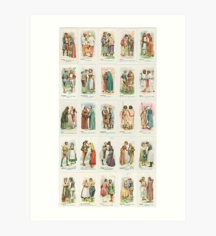 Greetings and costumes from around the world. Set of 25 Art Print