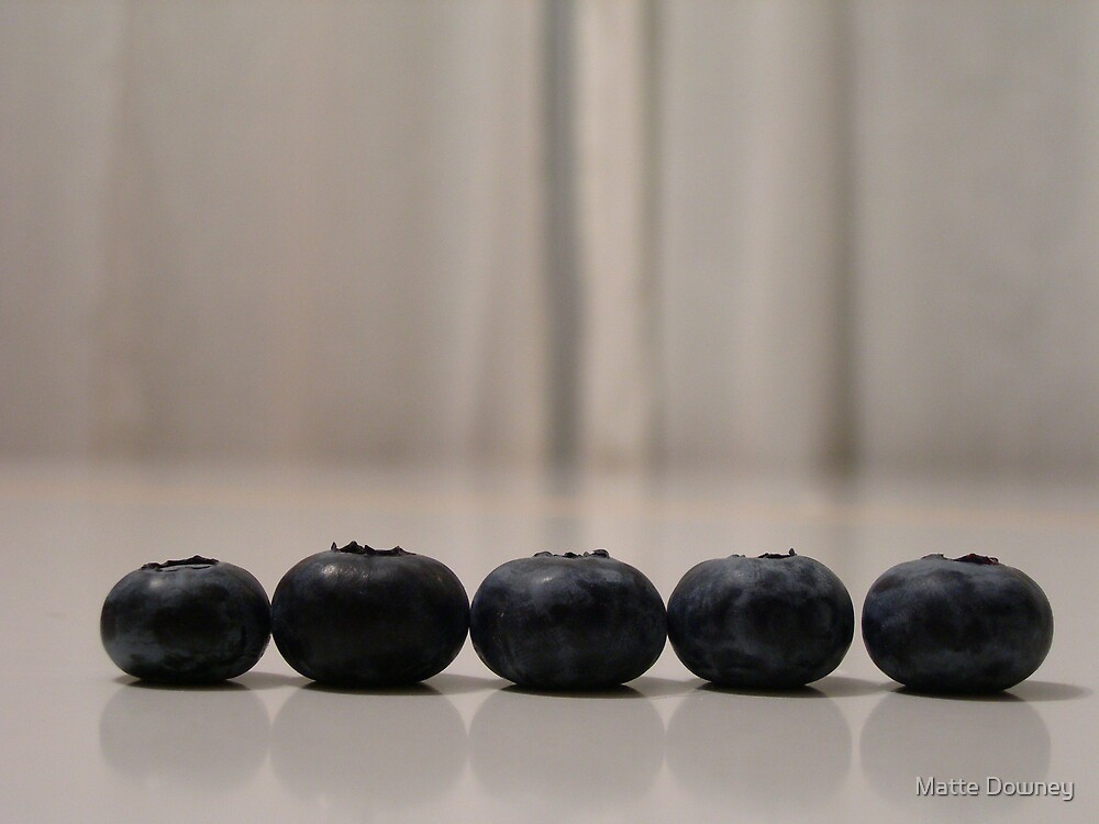 5 blueberries by Matte Downey