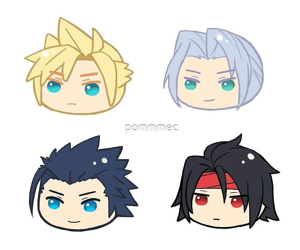 Final Fantasy 7 Cloud Strife Sephiroth Zack Fair Vincent Valentine by pommmec