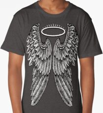 Angel Wings and Halo | Black and White Long T-Shirt