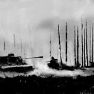 Tiger I battling T-34 tanks (Grey version) by NuclearJackal