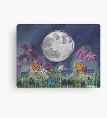 Moon and Wildflowers Canvas Print