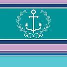 Nautical Wreath Anchor Coastal Teal Purple Blue Summer by Beverly Claire Kaiya