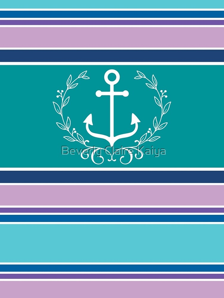 Nautical Wreath Anchor Coastal Teal Purple Blue Summer by beverlyclaire