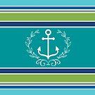 Trendy Monogram Anchor Laurel Wreath Stripes Aqua by Beverly Claire Kaiya