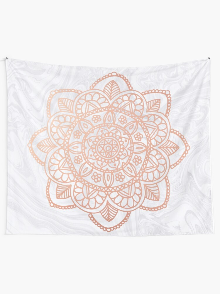 Alternate view of Rose Gold Mandala on White Marble Wall Tapestry